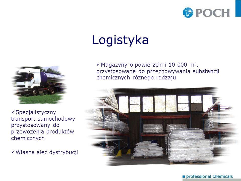 Logistyka Magazyny o powierzchni 10 000 m2, przystosowane do przechowywania substancji chemicznych różnego rodzaju.