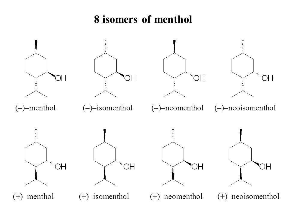 (–)–menthol (–)–isomenthol (–)–neomenthol (–)–neoisomenthol