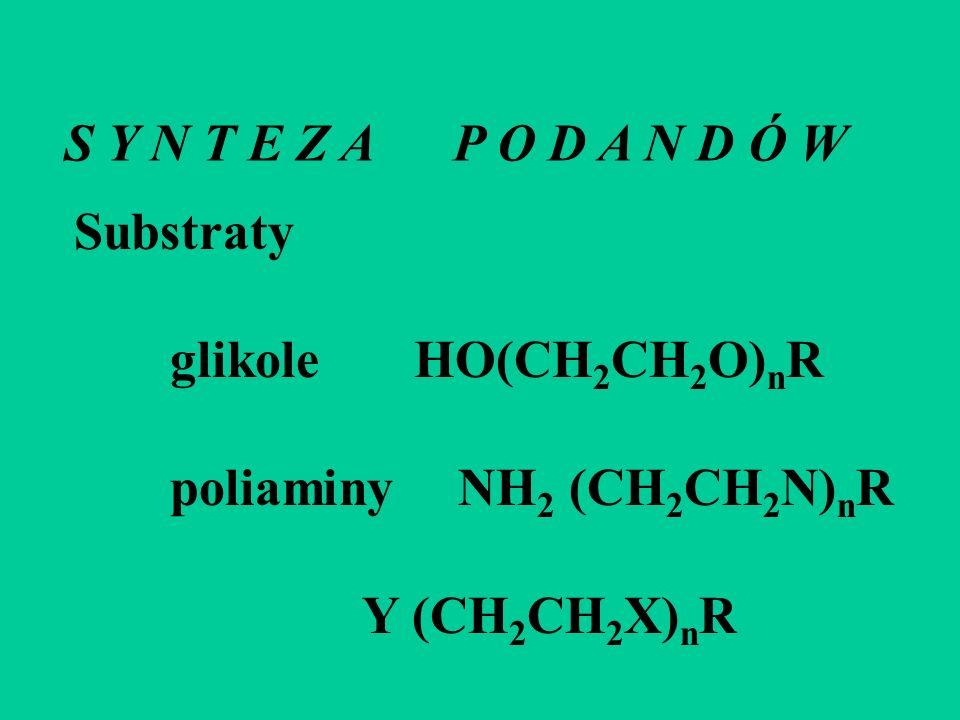 S Y N T E Z A P O D A N D Ó W Substraty. glikole HO(CH2CH2O)nR. poliaminy NH2 (CH2CH2N)nR.