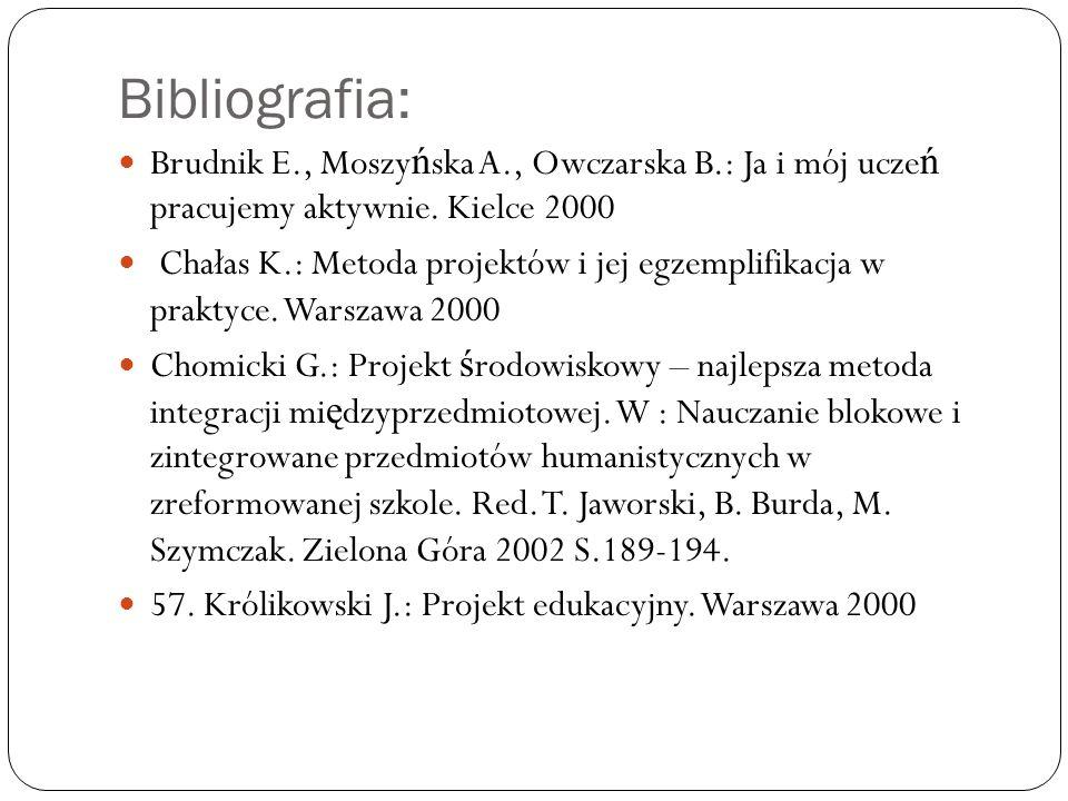 Bibliografia: Brudnik E., Moszyńska A., Owczarska B.: Ja i mój uczeń pracujemy aktywnie. Kielce 2000.