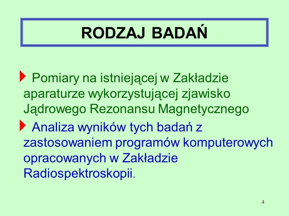 RODZAJ BADAŃ Pomiary na istniejącej w Zakładzie aparaturze wykorzystującej zjawisko Jądrowego Rezonansu Magnetycznego.