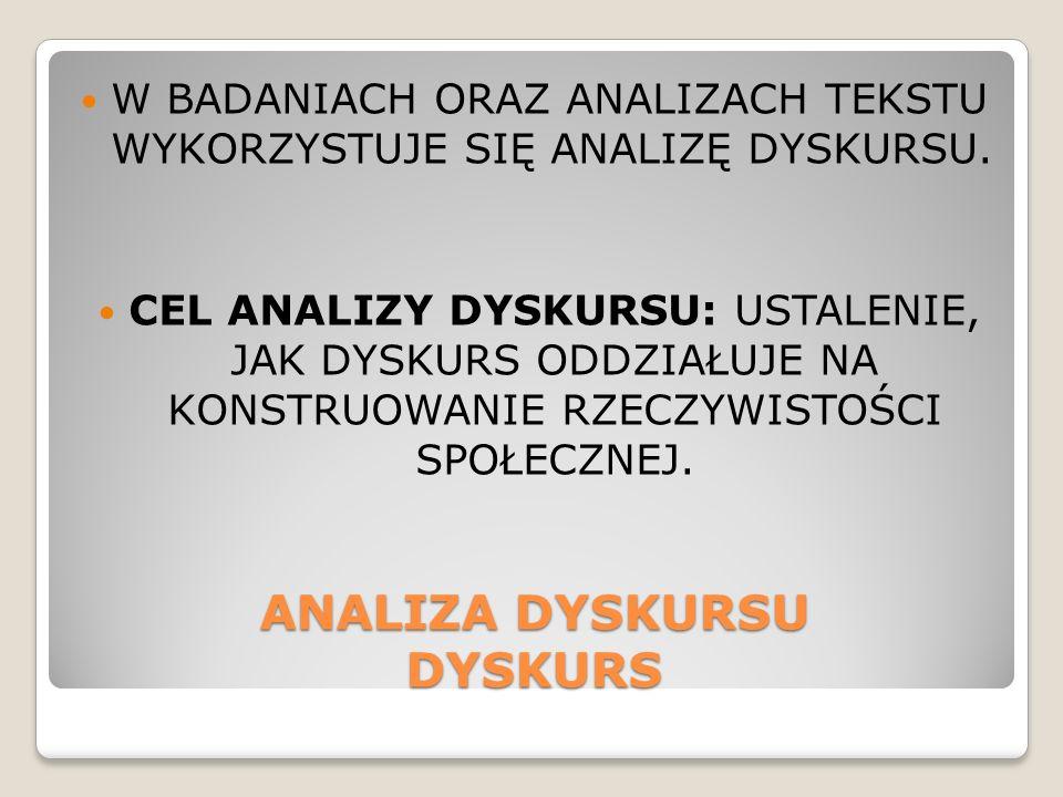 ANALIZA DYSKURSU DYSKURS