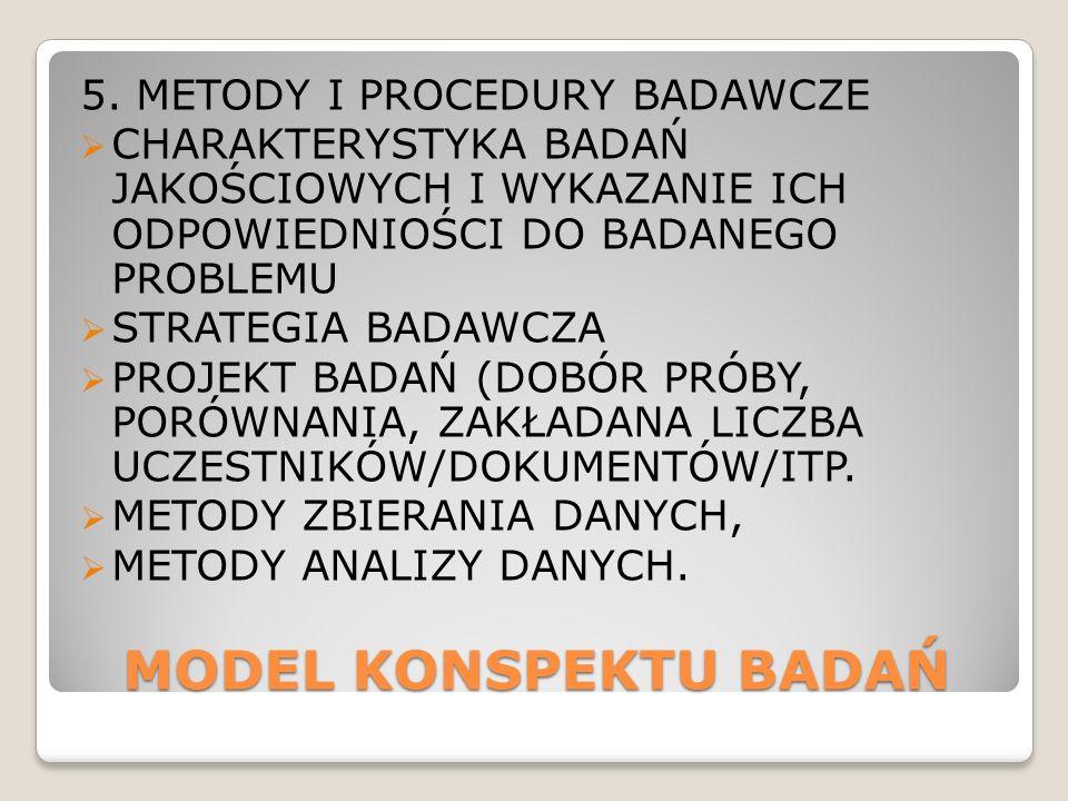 MODEL KONSPEKTU BADAŃ 5. METODY I PROCEDURY BADAWCZE