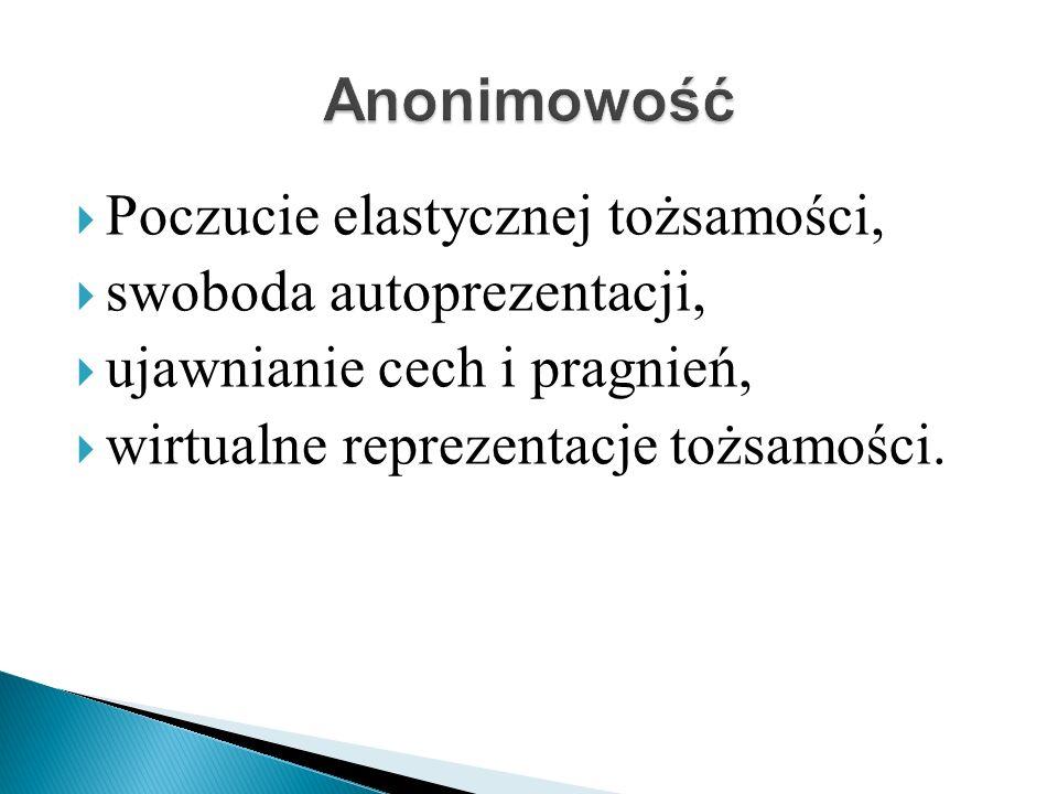 Anonimowość Poczucie elastycznej tożsamości, swoboda autoprezentacji,
