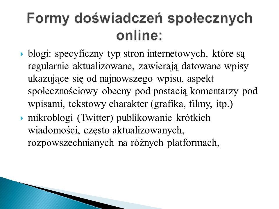 Formy doświadczeń społecznych online: