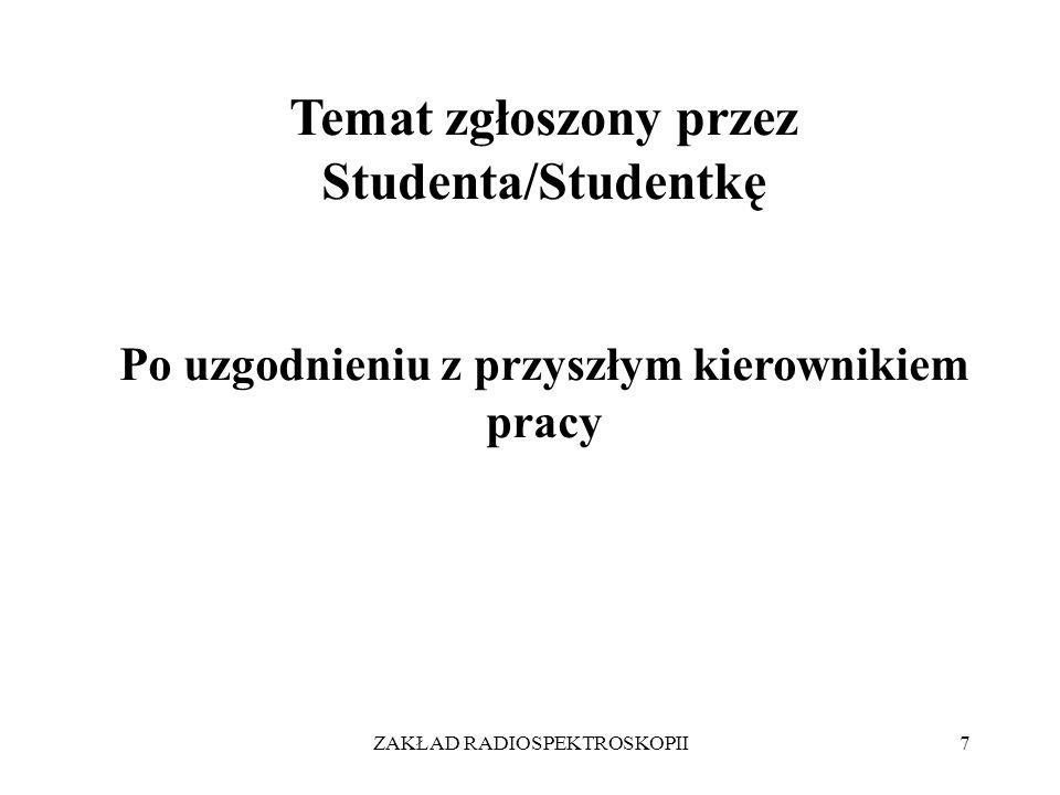 Temat zgłoszony przez Studenta/Studentkę