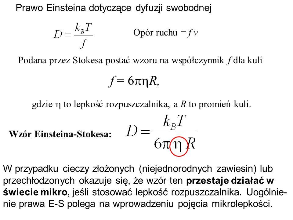 f = 6R, Prawo Einsteina dotyczące dyfuzji swobodnej Opór ruchu = f v