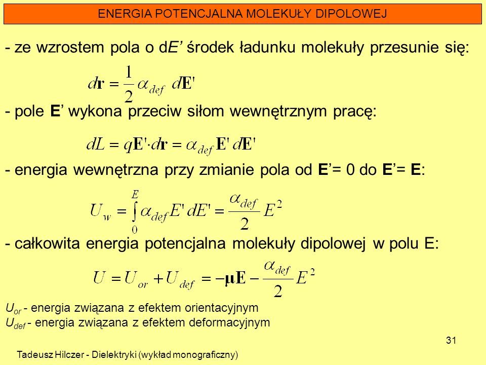 ENERGIA POTENCJALNA MOLEKUŁY DIPOLOWEJ