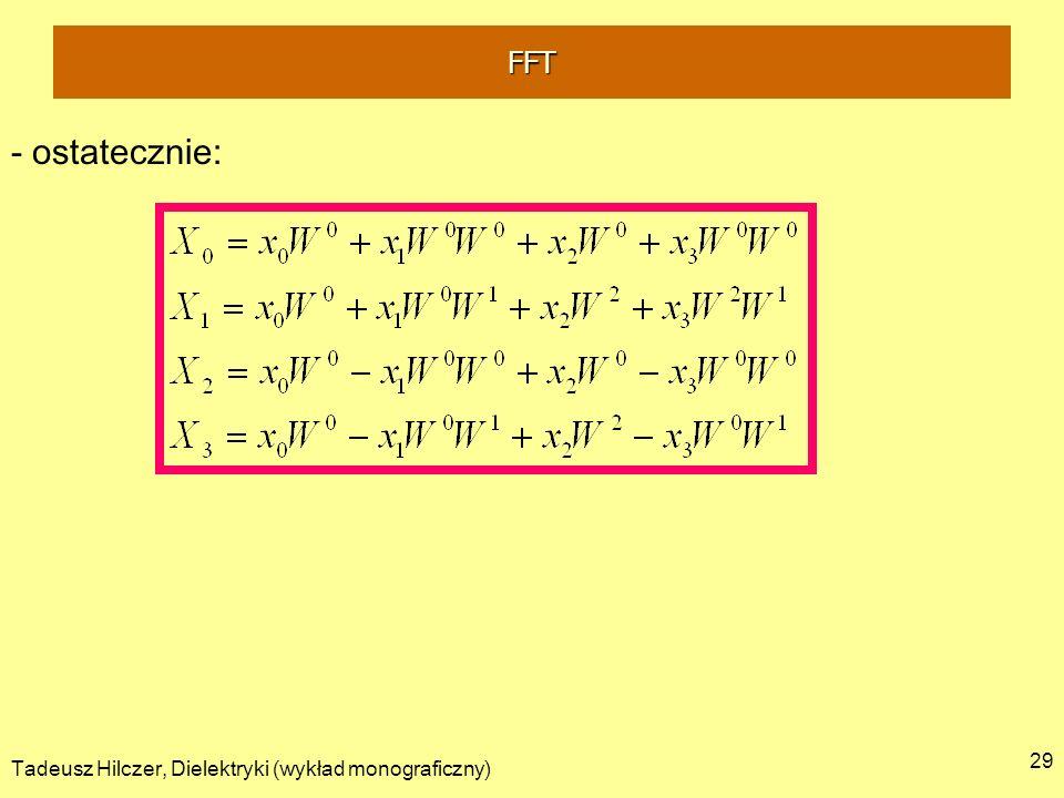 FFT - ostatecznie: Tadeusz Hilczer, Dielektryki (wykład monograficzny)