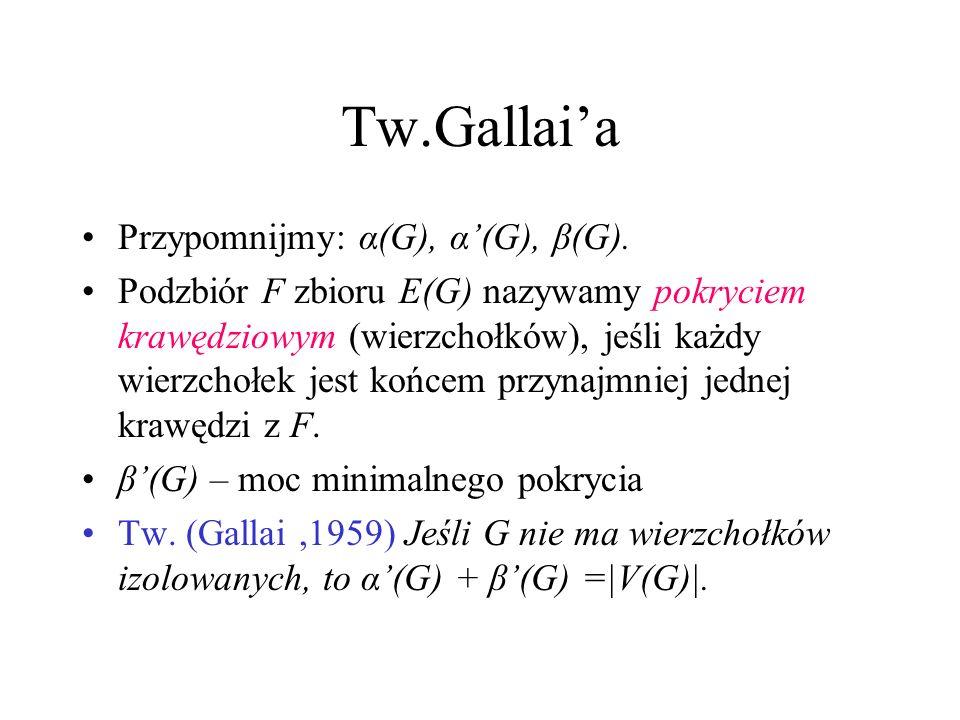 Tw.Gallai'a Przypomnijmy: α(G), α'(G), β(G).