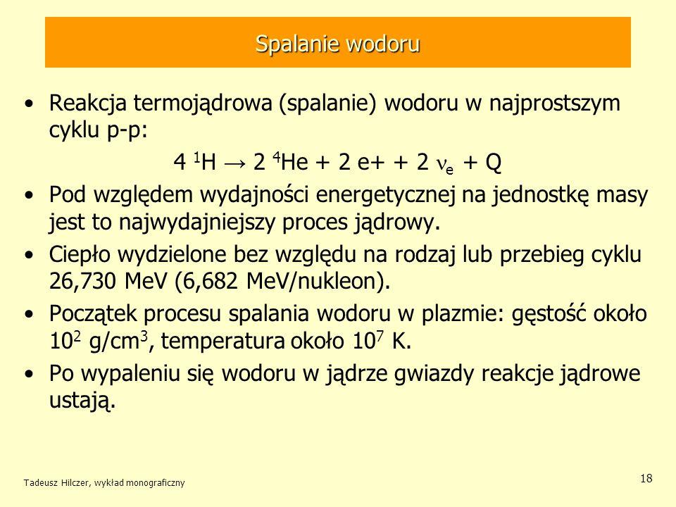 Reakcja termojądrowa (spalanie) wodoru w najprostszym cyklu p-p: