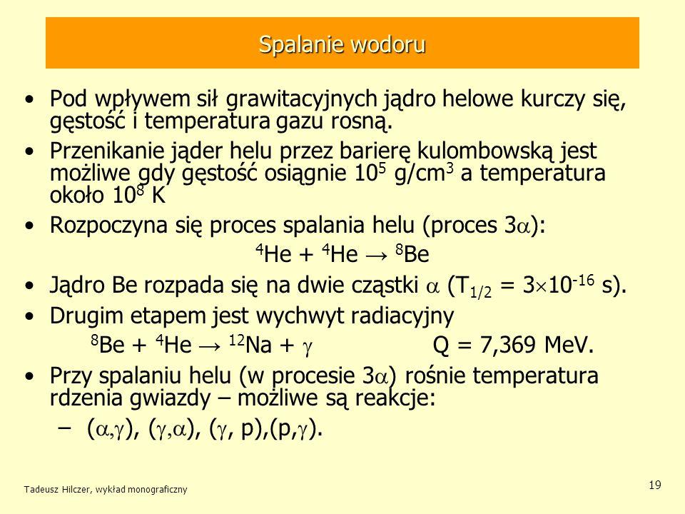 Rozpoczyna się proces spalania helu (proces 3a): 4He + 4He → 8Be