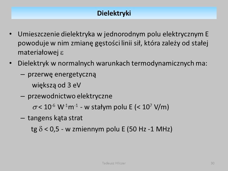 Dielektryk w normalnych warunkach termodynamicznych ma: