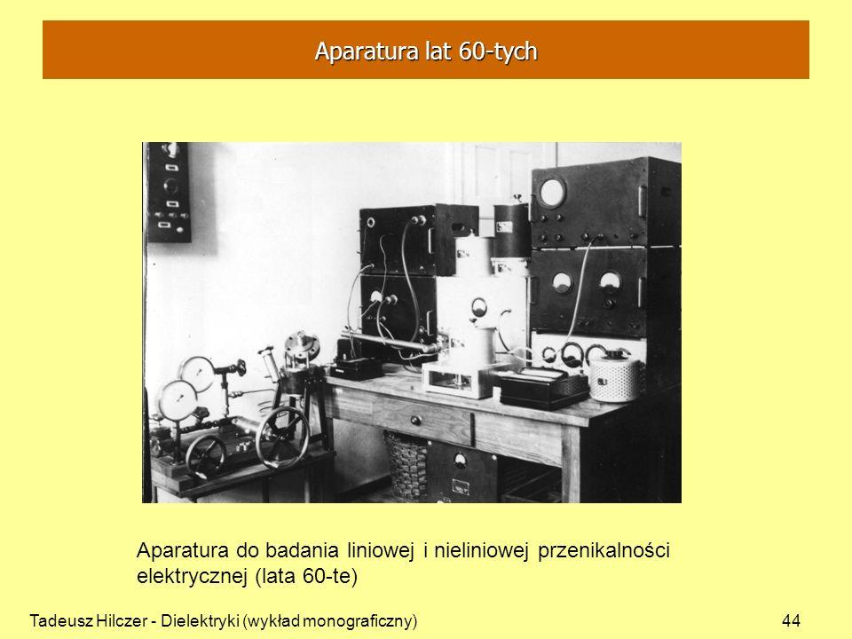 Aparatura lat 60-tych Aparatura do badania liniowej i nieliniowej przenikalności elektrycznej (lata 60-te)