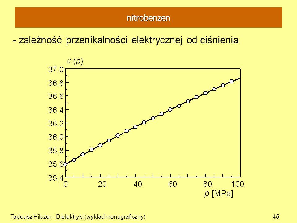 - zależność przenikalności elektrycznej od ciśnienia