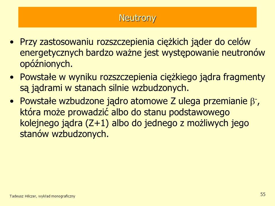 Neutrony Przy zastosowaniu rozszczepienia ciężkich jąder do celów energetycznych bardzo ważne jest występowanie neutronów opóźnionych.