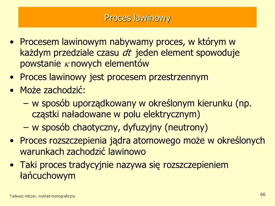 Proces lawinowy jest procesem przestrzennym Może zachodzić: