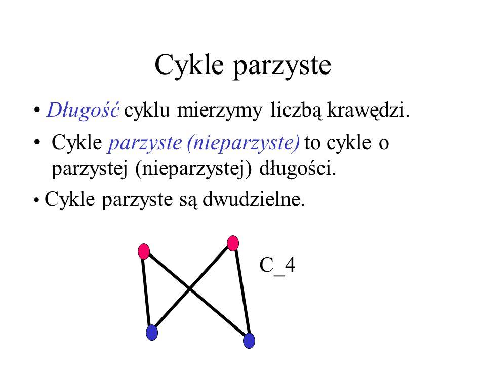 Cykle parzyste Długość cyklu mierzymy liczbą krawędzi.