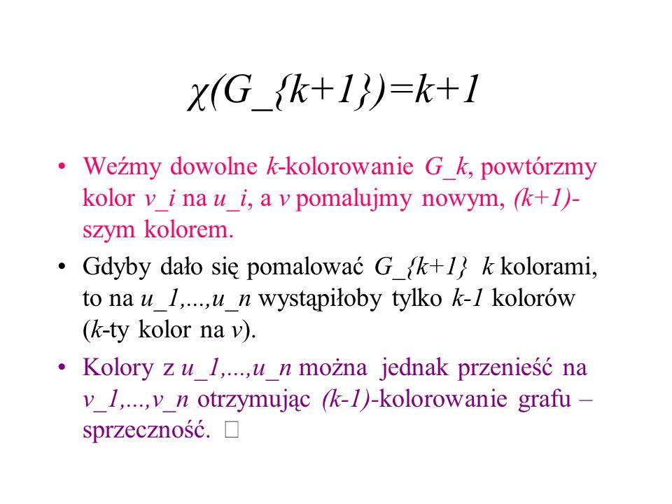 χ(G_{k+1})=k+1 Weźmy dowolne k-kolorowanie G_k, powtórzmy kolor v_i na u_i, a v pomalujmy nowym, (k+1)-szym kolorem.