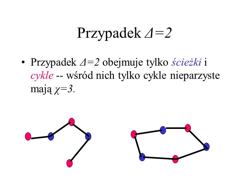 Przypadek Δ=2Przypadek Δ=2 obejmuje tylko ścieżki i cykle -- wśród nich tylko cykle nieparzyste mają χ=3.