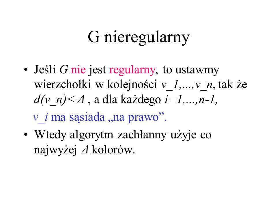 G nieregularny Jeśli G nie jest regularny, to ustawmy wierzchołki w kolejności v_1,...,v_n, tak że d(v_n)< Δ , a dla każdego i=1,...,n-1,