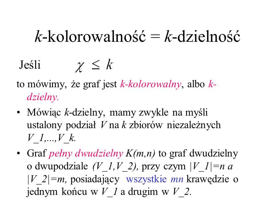k-kolorowalność = k-dzielność