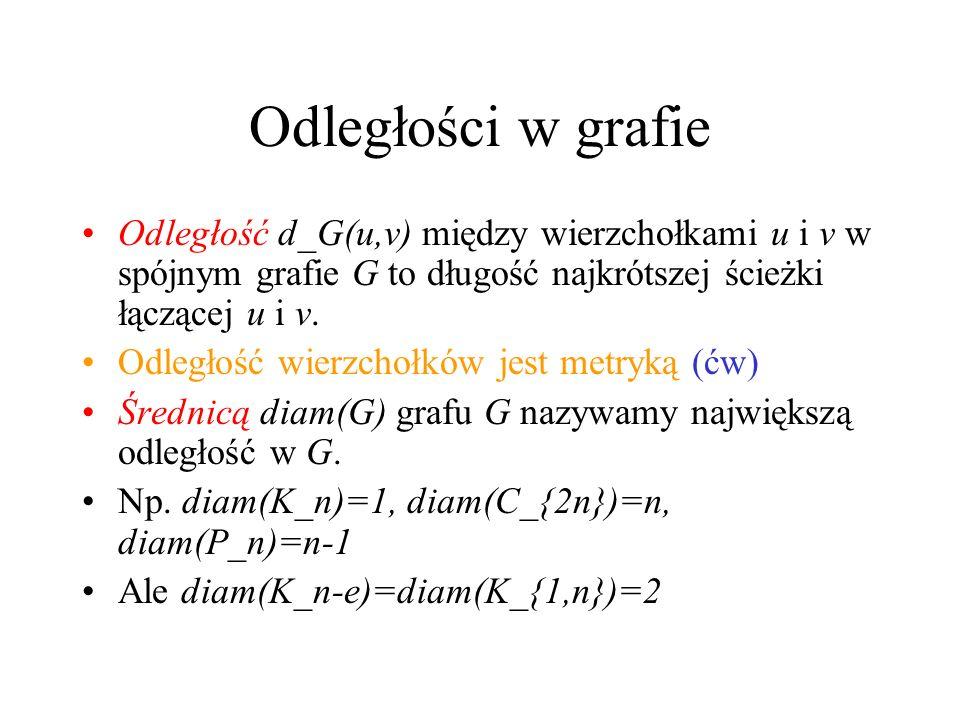 Odległości w grafie Odległość d_G(u,v) między wierzchołkami u i v w spójnym grafie G to długość najkrótszej ścieżki łączącej u i v.