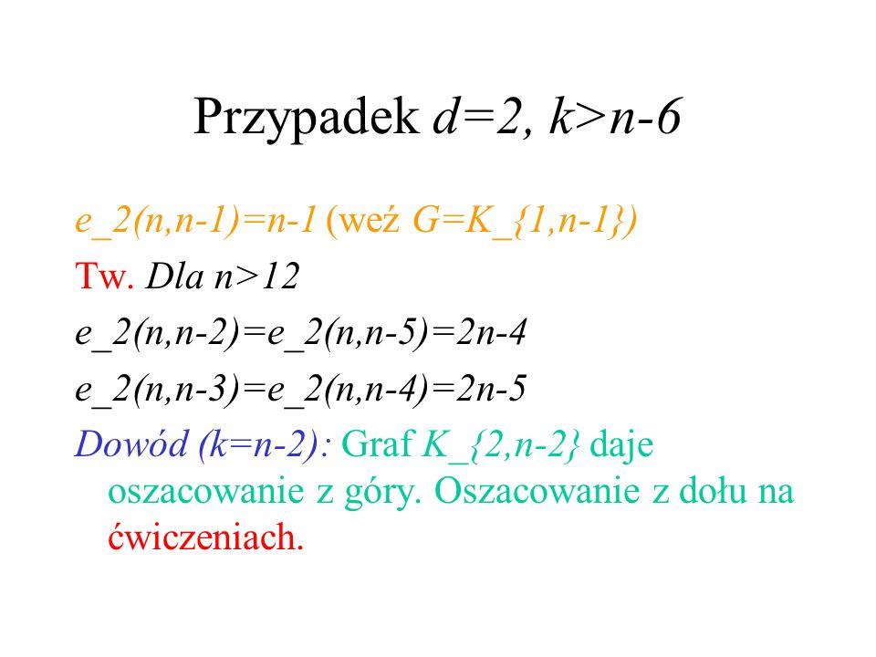 Przypadek d=2, k>n-6 e_2(n,n-1)=n-1 (weź G=K_{1,n-1})