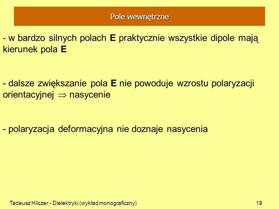 - polaryzacja deformacyjna nie doznaje nasycenia