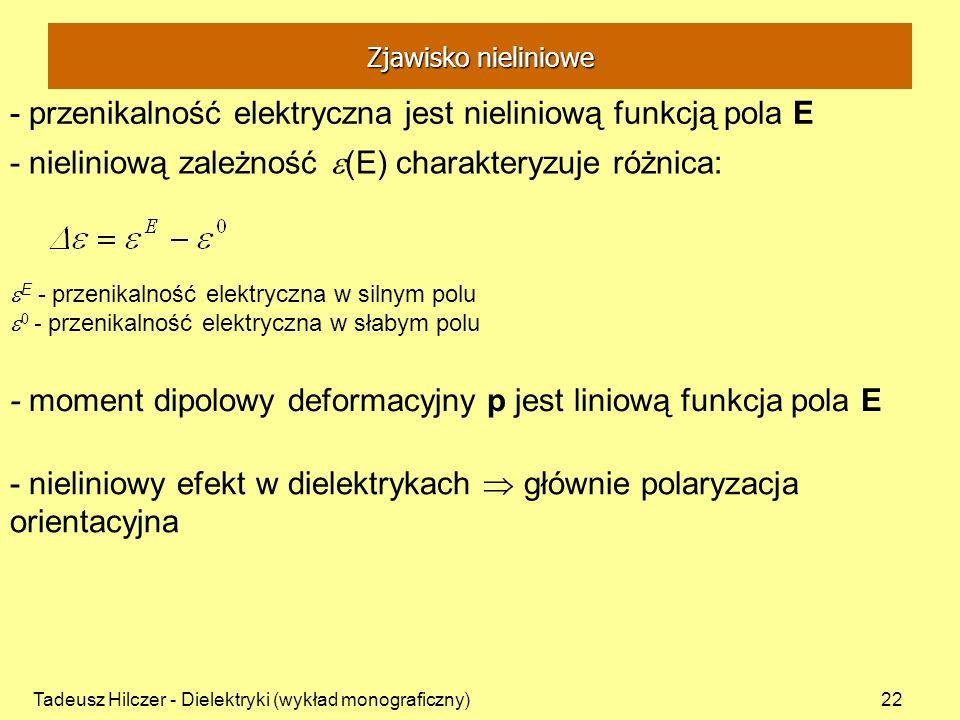 - przenikalność elektryczna jest nieliniową funkcją pola E