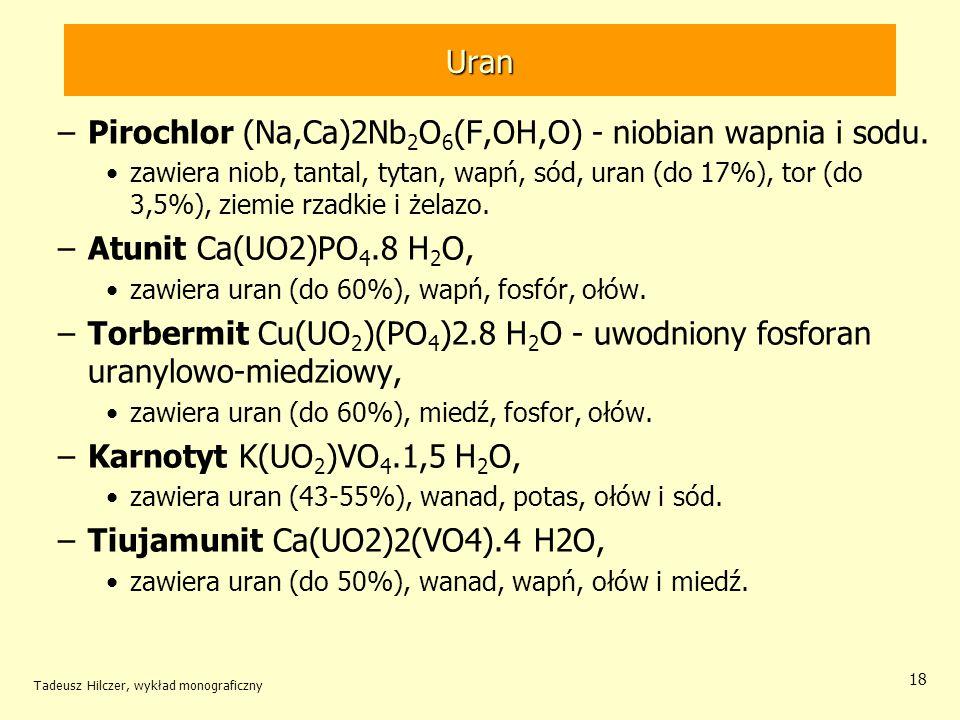 Pirochlor (Na,Ca)2Nb2O6(F,OH,O) - niobian wapnia i sodu.