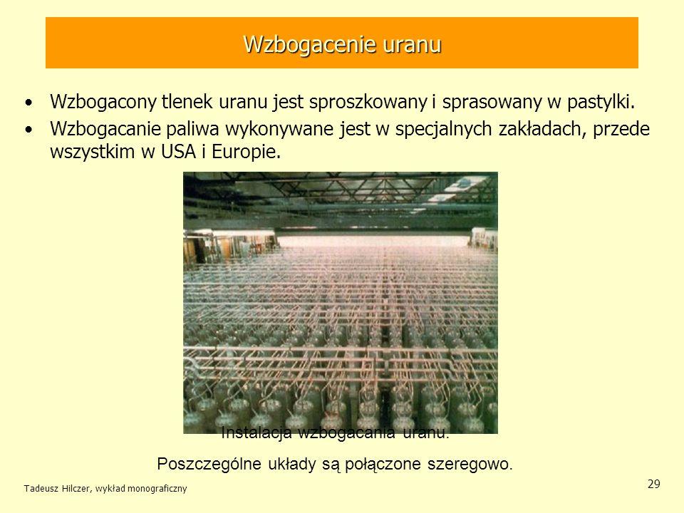 Wzbogacenie uranu Wzbogacony tlenek uranu jest sproszkowany i sprasowany w pastylki.