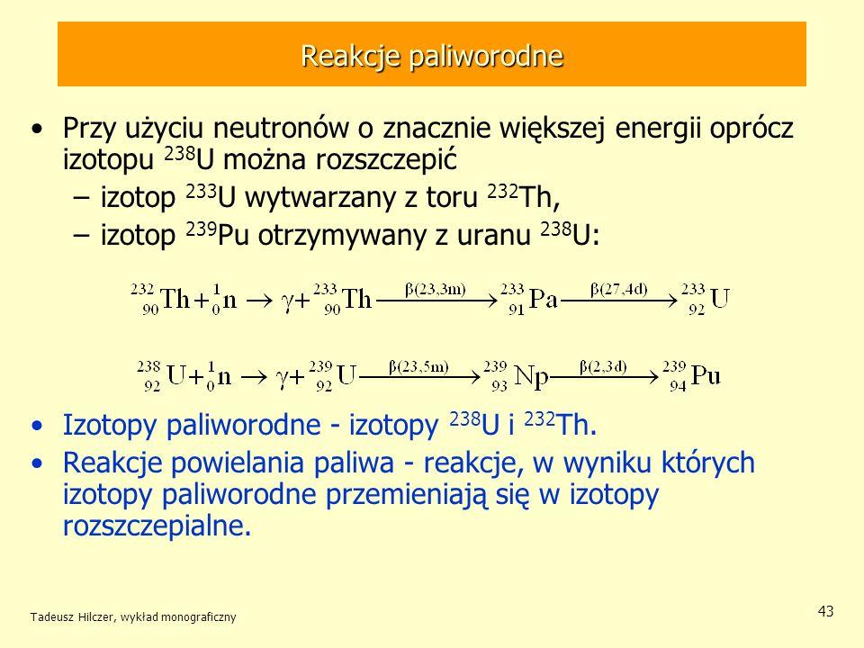 izotop 233U wytwarzany z toru 232Th,