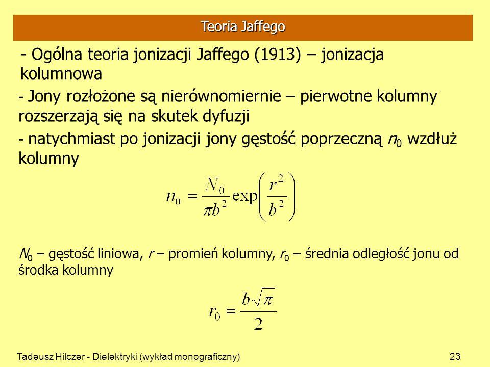 Ogólna teoria jonizacji Jaffego (1913) – jonizacja kolumnowa