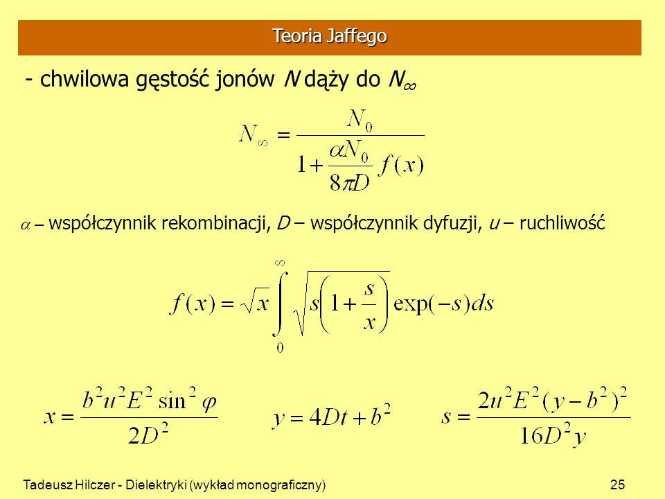 - chwilowa gęstość jonów N dąży do N∞