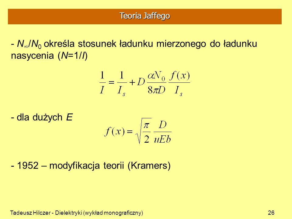 - 1952 – modyfikacja teorii (Kramers)