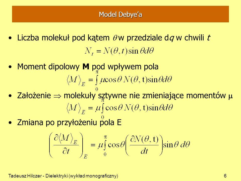 Liczba molekuł pod kątem q w przedziale dq w chwili t