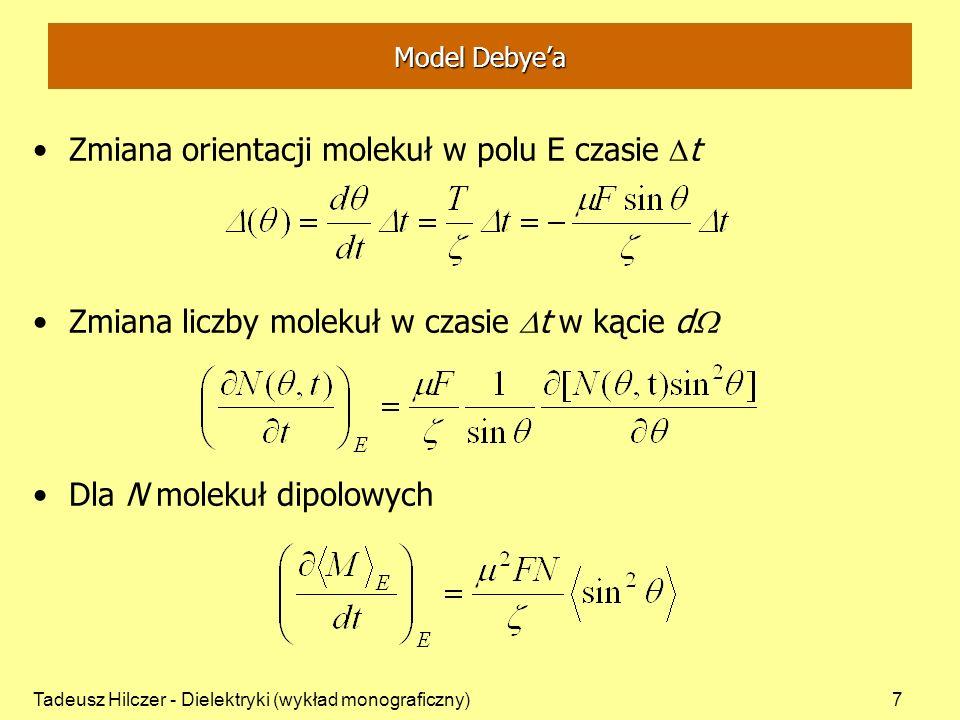 Zmiana orientacji molekuł w polu E czasie Dt