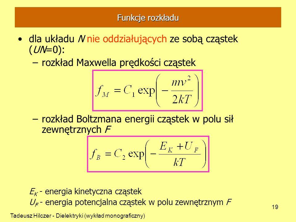 dla układu N nie oddziałujących ze sobą cząstek (UN=0):