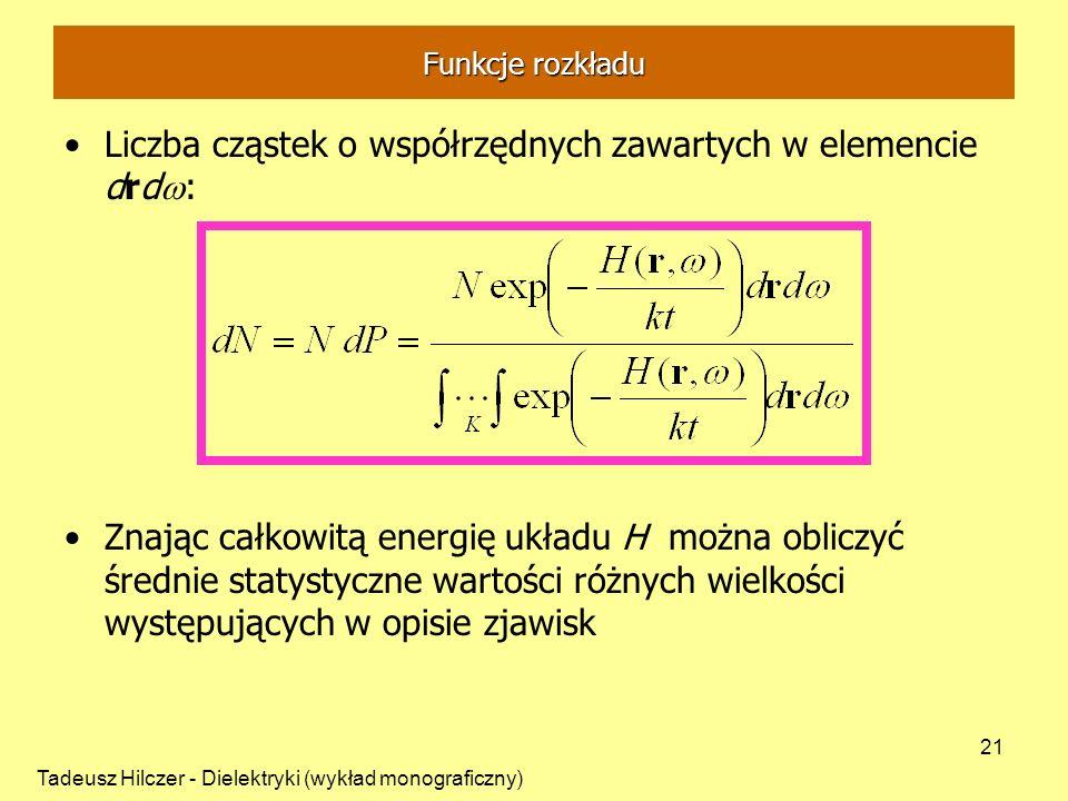 Liczba cząstek o współrzędnych zawartych w elemencie drdw: