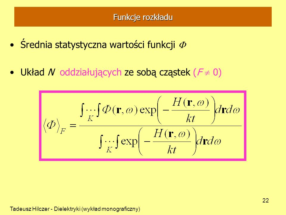 Średnia statystyczna wartości funkcji F