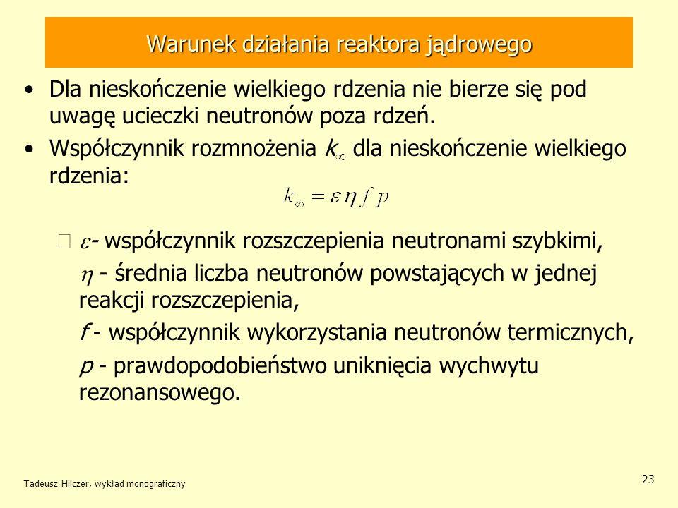 Warunek działania reaktora jądrowego