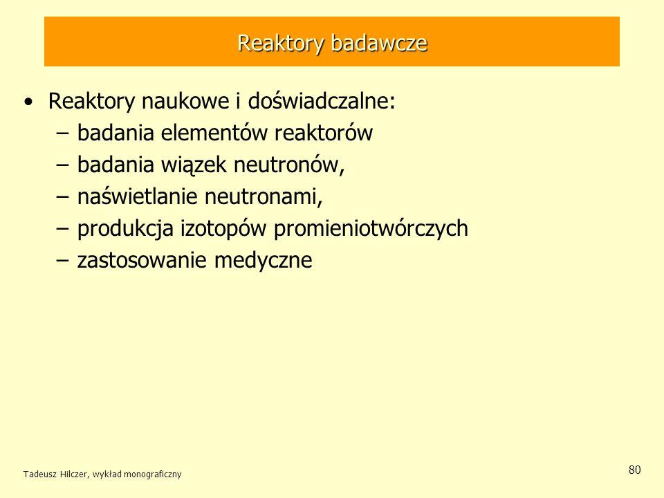 Reaktory naukowe i doświadczalne: badania elementów reaktorów