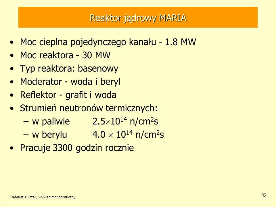Moc cieplna pojedynczego kanału - 1.8 MW Moc reaktora - 30 MW