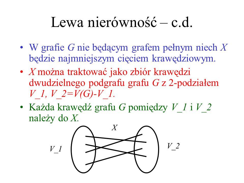 Lewa nierówność – c.d. W grafie G nie będącym grafem pełnym niech X będzie najmniejszym cięciem krawędziowym.