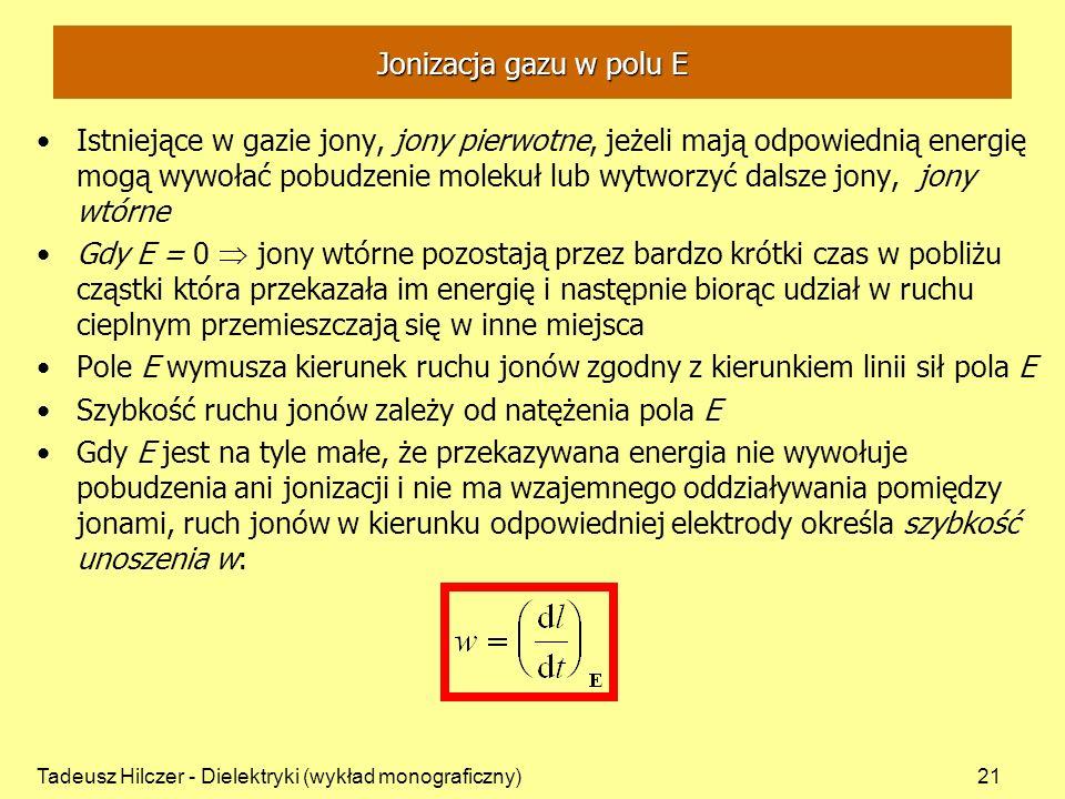 Szybkość ruchu jonów zależy od natężenia pola E