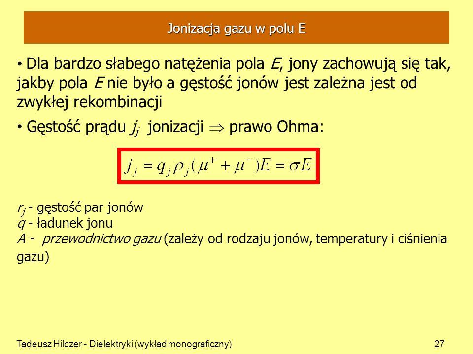 Gęstość prądu jj jonizacji  prawo Ohma: