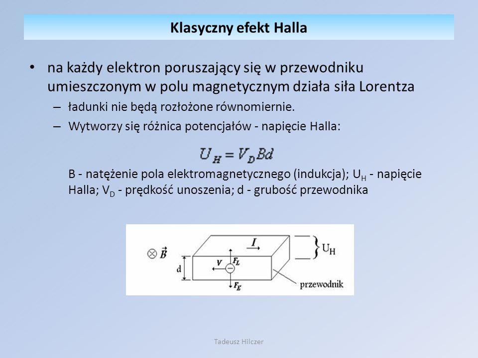 Klasyczny efekt Halla na każdy elektron poruszający się w przewodniku umieszczonym w polu magnetycznym działa siła Lorentza.