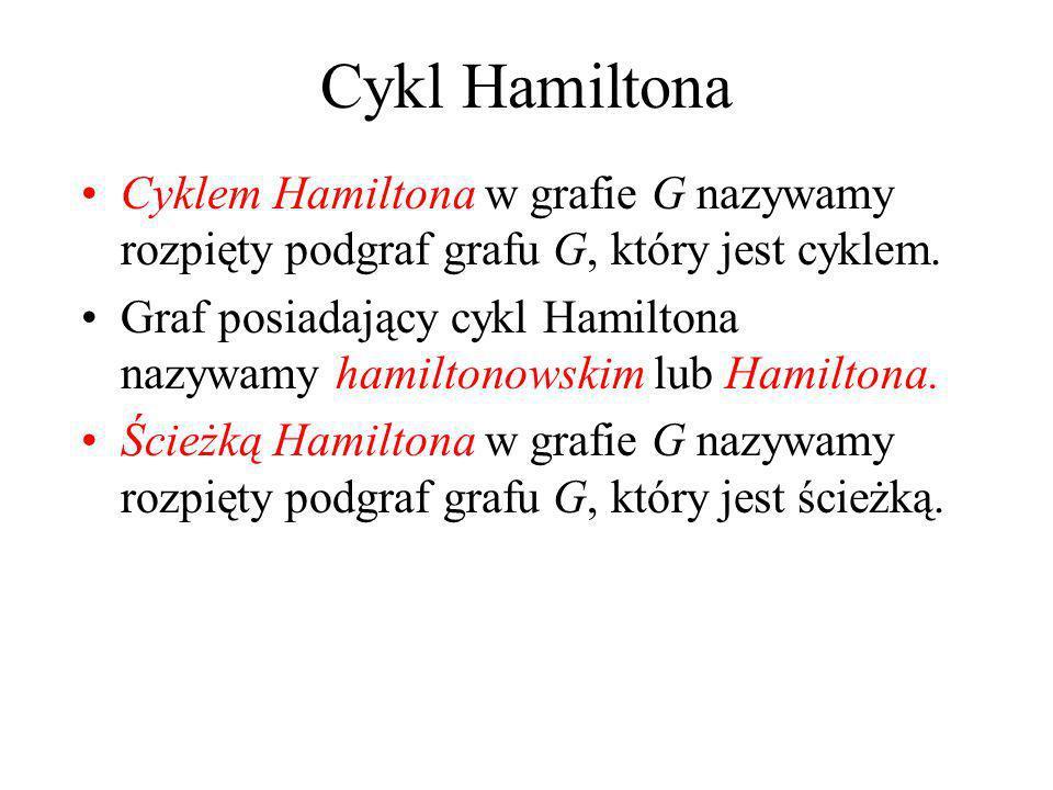 Cykl Hamiltona Cyklem Hamiltona w grafie G nazywamy rozpięty podgraf grafu G, który jest cyklem.