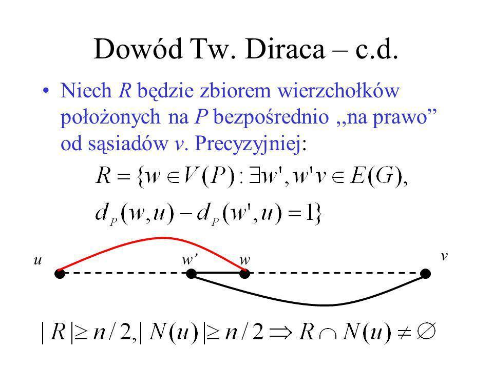 Dowód Tw. Diraca – c.d. Niech R będzie zbiorem wierzchołków położonych na P bezpośrednio ,,na prawo od sąsiadów v. Precyzyjniej: